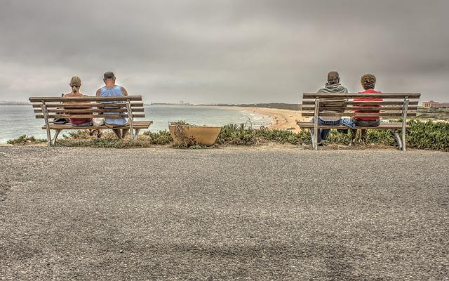 Beach, Bench, Chair, Coastline, Couple, Grass