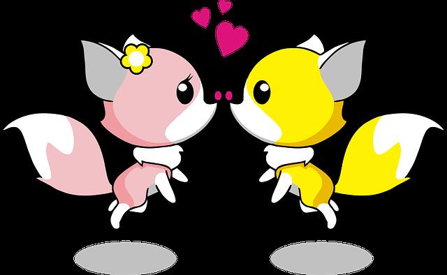 Anthropomorphized Animals, Cartoon, Couple