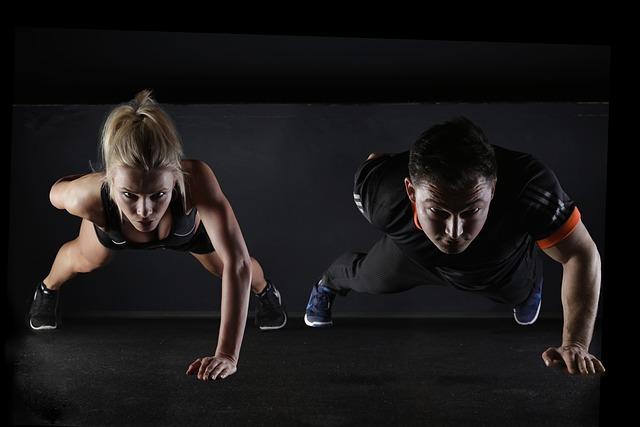 Man, Woman, Push-ups, Wellness, Exercise, Pair, Couple