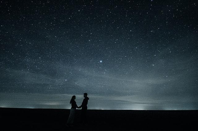 Couple, Love, Stars, Long Exposure, Hug, Artistic, Pair