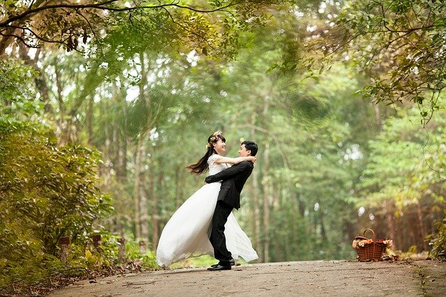 Couple, Wedding, Park, Newlyweds, Wedding Day, Husband