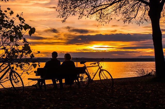 Sunset, Couple, Lake Constance, Abendstimmung, More