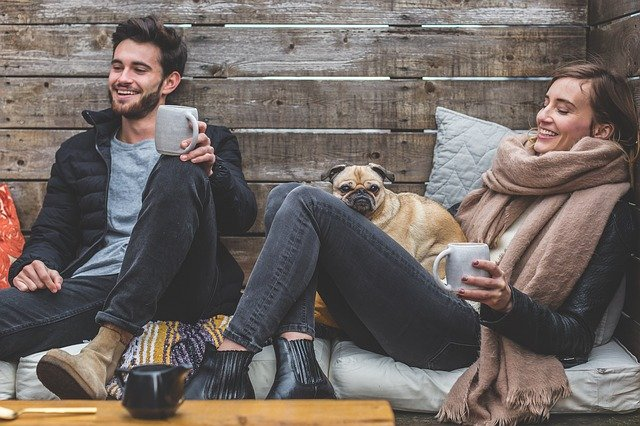 Man, Woman, Dog, Pet, Pug, Owners, Couple, Relationship