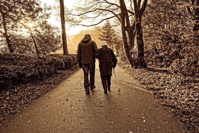 People, Couple, Elderly, Walking, White Cane