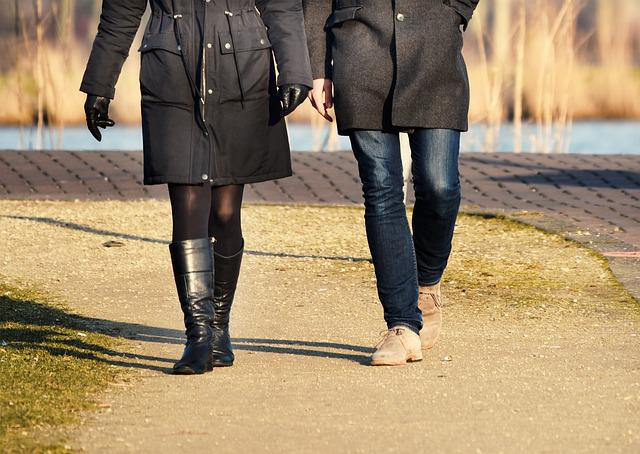 People, Man, Woman, Couple, Walking, Together, Leg