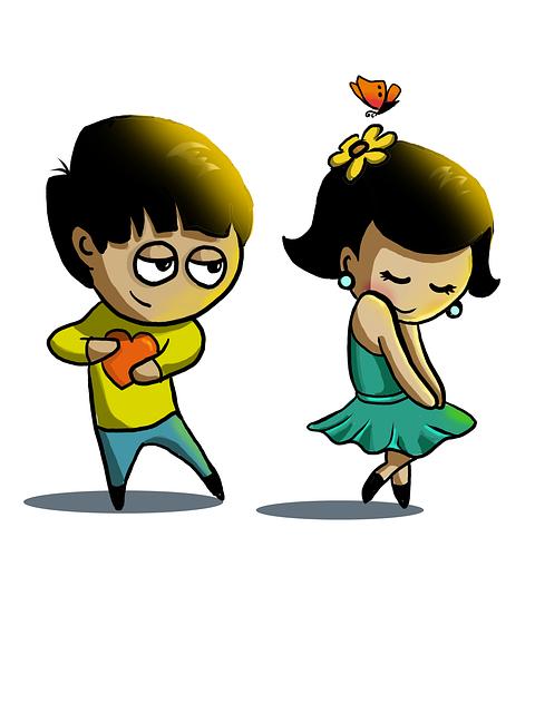 Cute Couple, Love, Couple's, Cartoon, Children