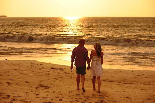 Valentine, Sunset, Beach, Couples, Love, Hugs