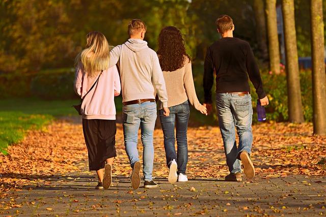 People, Friends, Couples, Park, Strolling, Man, Woman