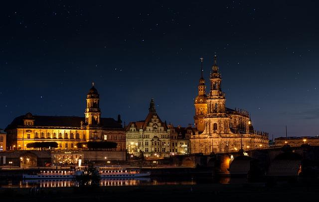 Court Church, Palace, Night, Lights, Illuminated