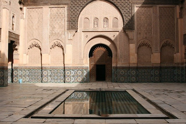 Morocco, Point Of Interest, Courtyard, Pond