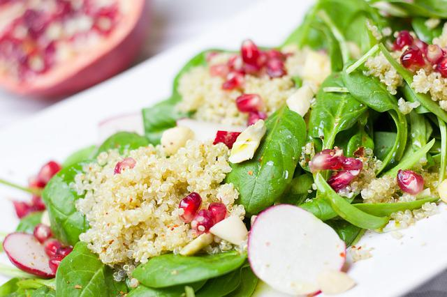 Salad, Spinach, Pomegranate, Couscous, Healthy