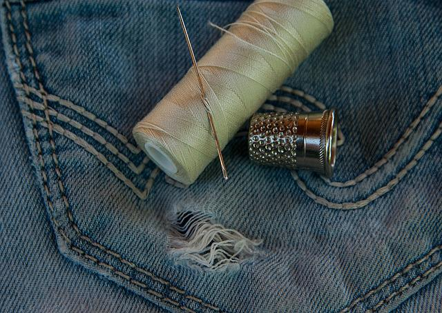 Pants, Jeans, Old, Worn, Hole, Couture, Needle, Wire