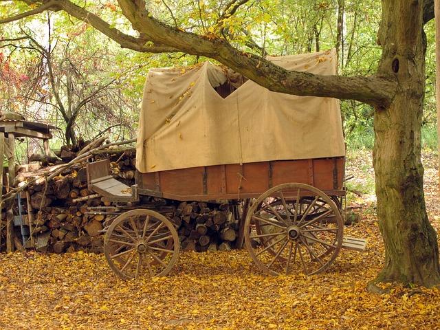 Covered Wagon, Wooden Cart, Wagon, Nostalgic, Wheel