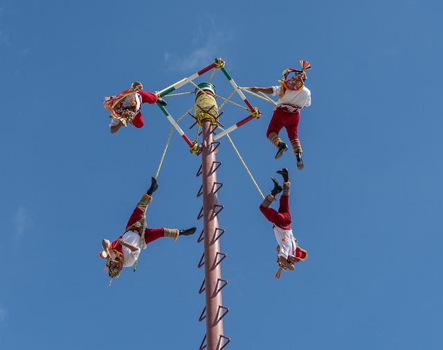 Acrobats, Flying, Cozumel, Mexico, Performance