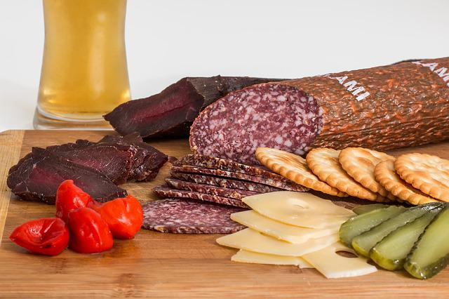 Smoked Beef, Salami, Crackers, Cheese, Gherkins, Snack