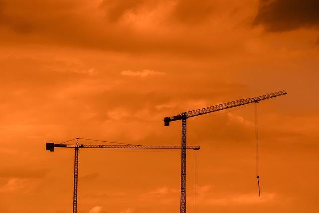 Cranes, Sunset, Sky, Clouds, Dusk, Industry
