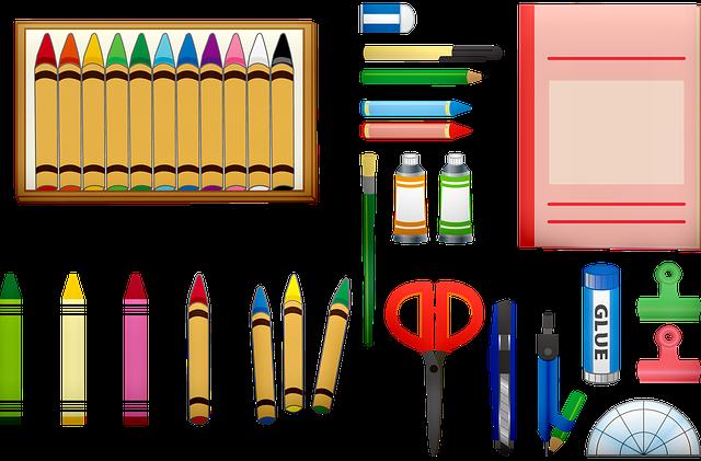 School Supplies, Crayons, Scissors