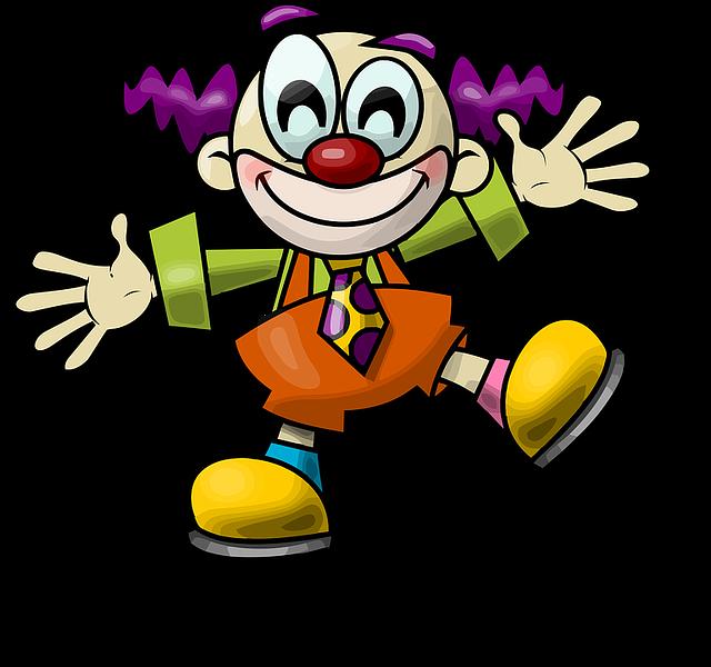 Clown, Crazy, Happy, Funny, Cartoon