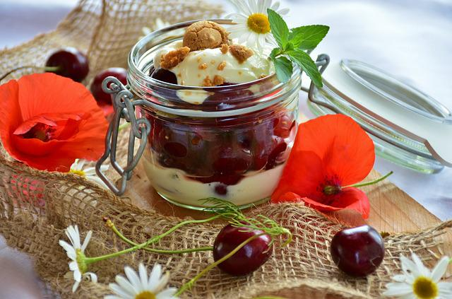 Cherries, Cherry Dessert, Cream, Yogurt, Slightly