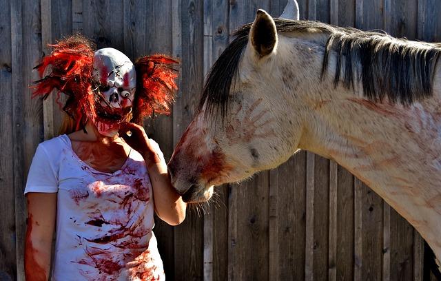 Halloween, Bloody, Horror Clown, Creepy, Art Blood
