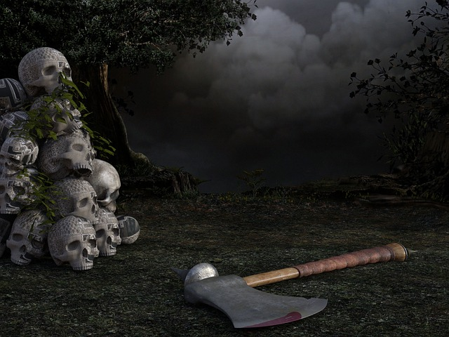 Skull, Axe, Ax, Tree, Weird, Scary, Horror, Creepy
