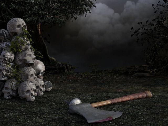 Skull, Axe, Ax, Tree, Weird, Scary, Horror, Creepy