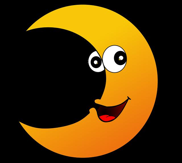 Moon, Crescent, Face, Sky, Crescent Moon, Night