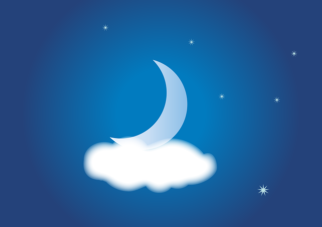 Night, Cloudiness, Sky, Star, Moon, Crescent, Weather