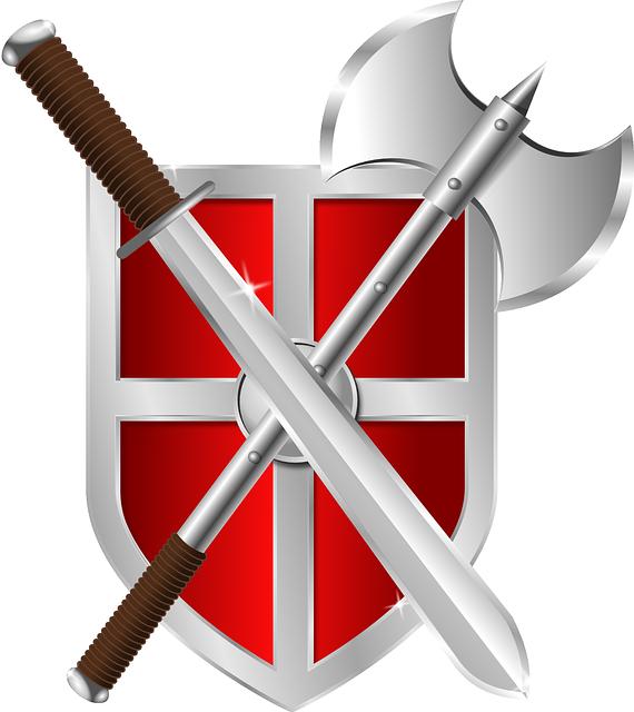 Shield, Axe, Sword, Crest, Armor, Warrior, Symbol