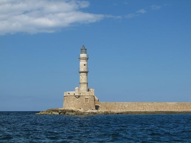 Lighthouse, Crete, Harbour Entrance, Port, Water, Sea