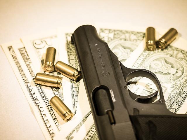 Money, Pistol, Cartridges, Bank Note, Crime