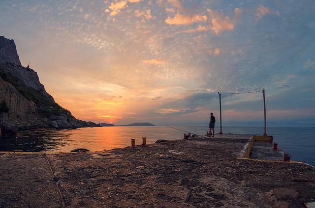 Sunset, Sea, Crimea, Sunrise, Fisherman