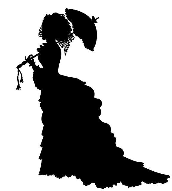 Lady, Victorian, Crinoline, Parasol, Dress, Fashion