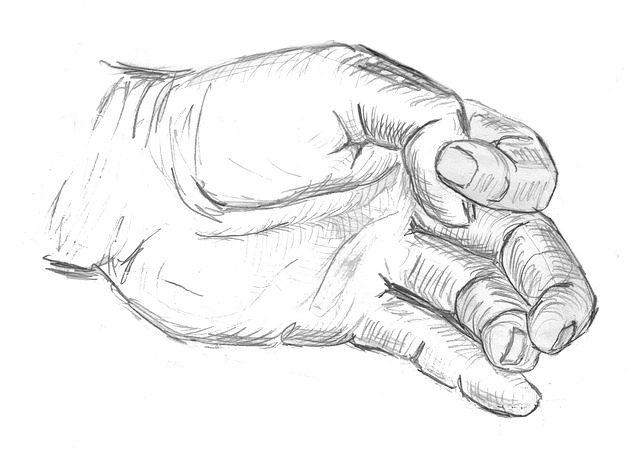 Hand, Sketch, Drawing, Finger, Crippled, Disabled