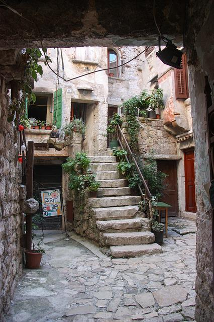 Court, Inner, Courtyard, Croatia, Staircase, Frontage
