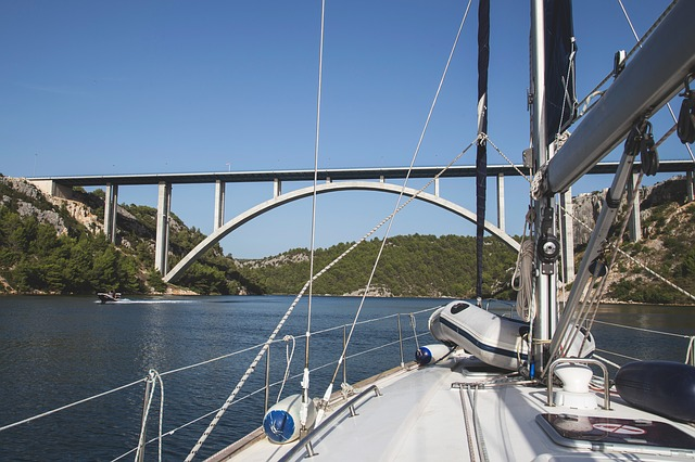Bridge, Boat, Sailing, Sailboat, Croatia, Sea, River