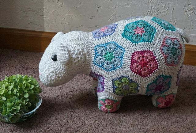 Crocheted Happy Lamb, African Flower Design