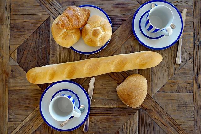 Breakfast, Croissant, Croissantes, Baguette, Roll, Cup