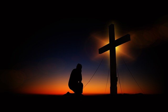Cross, Sunset, Humility, Devotion, Silhouette, Human