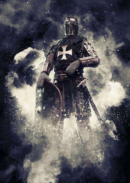 Knight, Crusader, Coat Of Arms, Shield, Cross