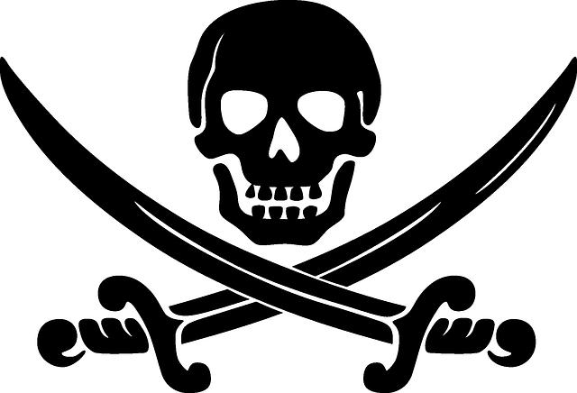 Skull, Swords, Crossed, Black, Coat Of Arms, Pirates