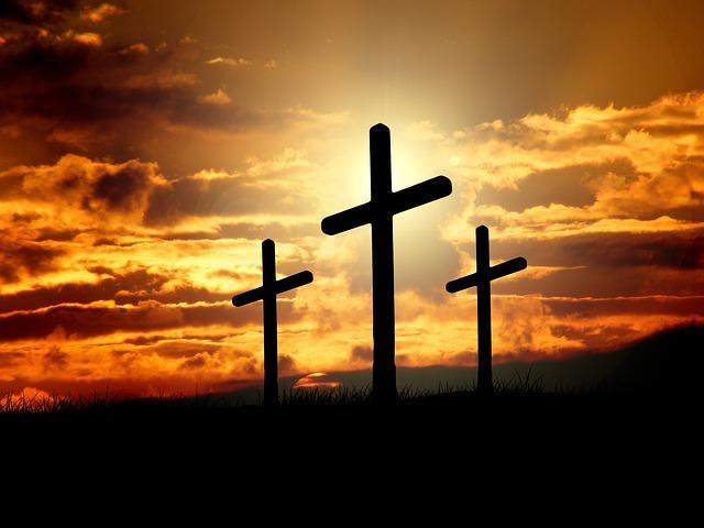 Crosses, Sunset, Silhouettes, Dusk, Dawn, Twilight