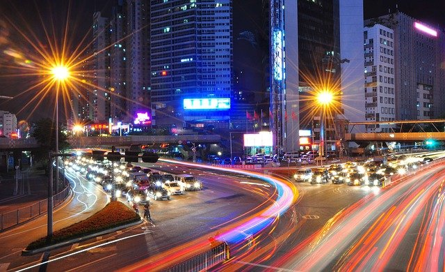 Light, Traffic, Shenzhen, Night, Cars, Crossing