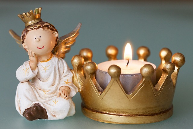 Angel, Crown, Candle, Clay Figure, Christmas Time
