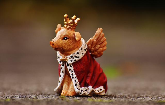 Lucky Pig, Guardian Angel, Figure, Funny, Cute, Crown