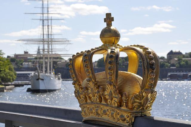 Stockholm, Bridge, Sailing Vessel, Crown, Skeppsholmen