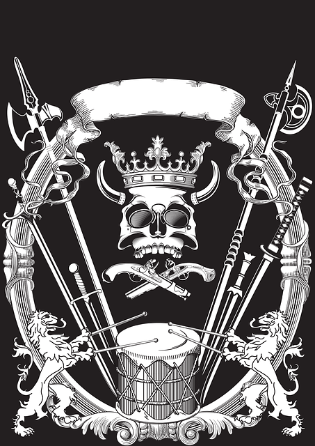 Figure, Heraldry, Skull, A Spear, Tape, Crown