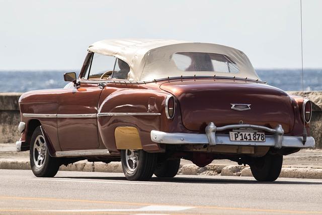 Cuba, Havana, Car, Classic, Almendron, Malecon, Brown