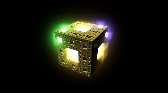 Cube, Fractal, Light, Rays, Colorful Light, Abstract