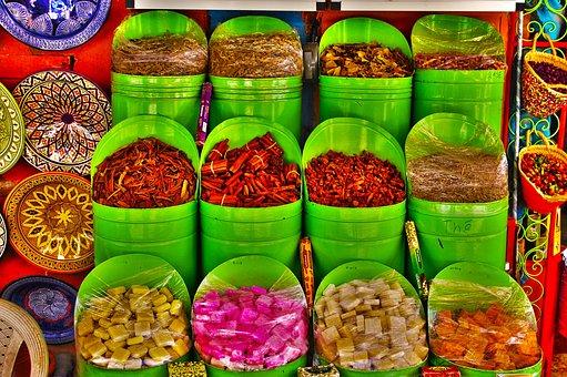 Morocco, Marraquech, Souk, Spices, Cubes, Green